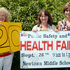 From left, Mae Schmidle, Health District Director Donna Culbert, and local chiropractor Dr Della Schmid are gearing up for their 20th annual Newtown Health Fair, which is set for September 28 at Newtown Middle School. (Voket photo)