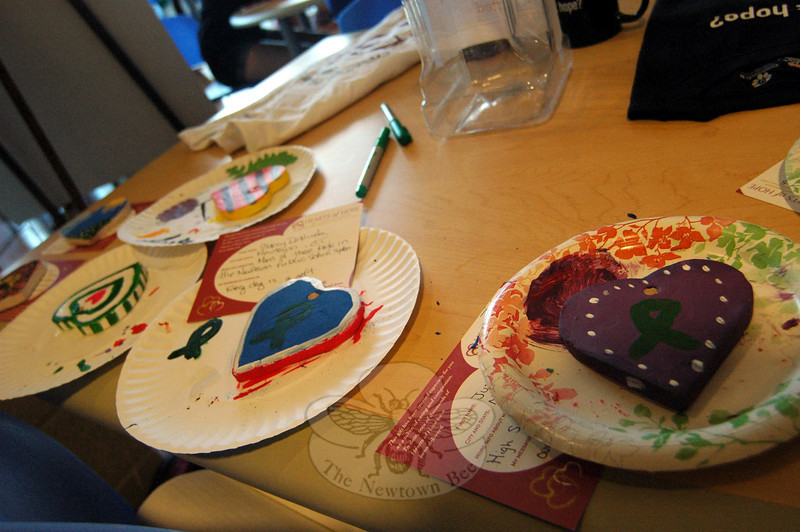 Hearts of Hope were painted during Newtown High School Kindness Club's Day of Kindness. (Hallabeck photo)