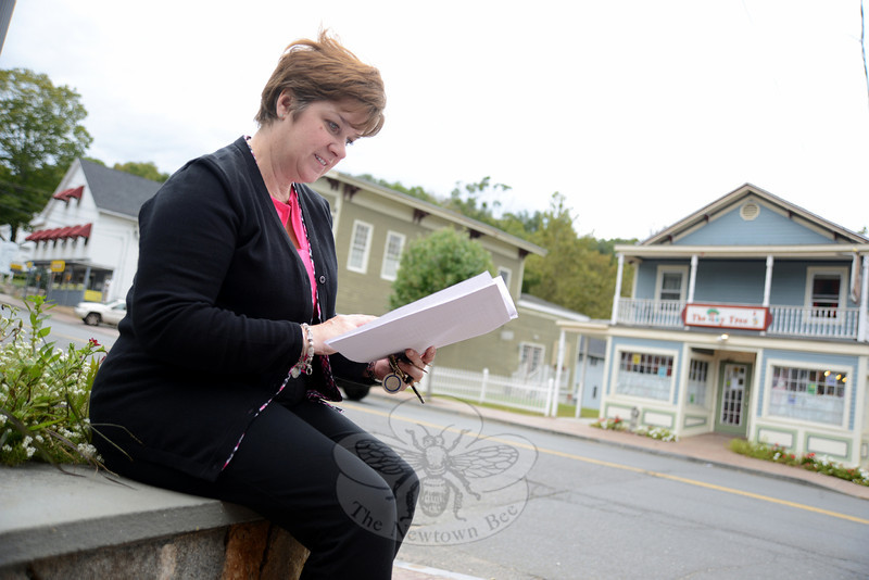 "Connecticut Main Street Center Associate Director Kimberley Parsons-Whitaker looks over her notes while seated outdoors Monday afternoon, where she admired the ""authentic"" and ""historic"" setting of Sandy Hook Center. (Bobowick photo)"