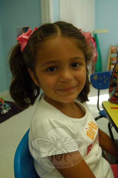 The Newtown Bee: What is your favorite part of the school day? Maria Salamy: Play in the kitchen. (Hallabeck photo)