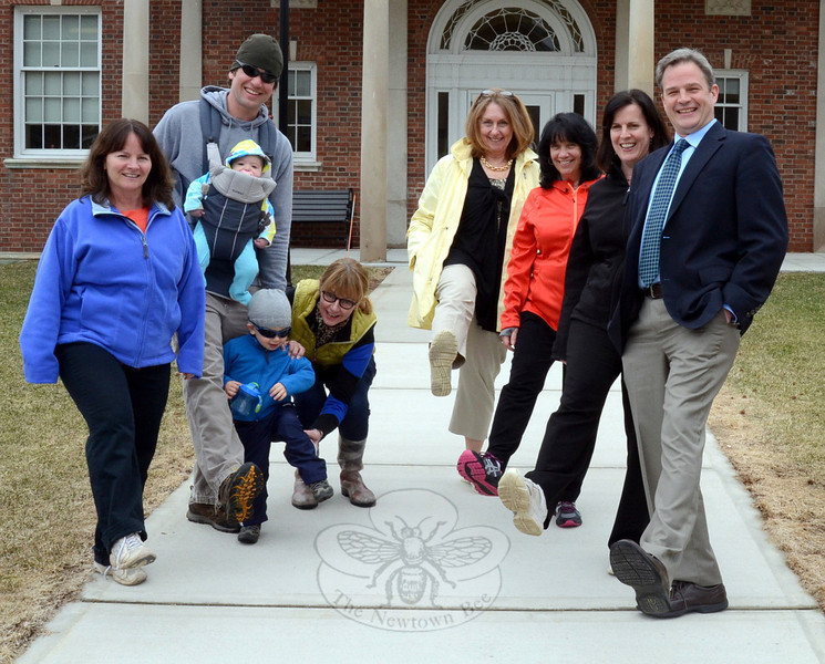 A group of Newtown and school district staffers including Health District Director Donna Culbert, Land Use Deputy Director Rob Sibley, school district administrative assistant Joanne Morris, and district Health Coordinator Judy Blanchard were joined by residents Mary Tietjen, her son Travis, and grandchildren Ellery and Mason on a quick tour of the Fairfield Hills campus April 2, which was National Start Walking Day. (Voket photo)
