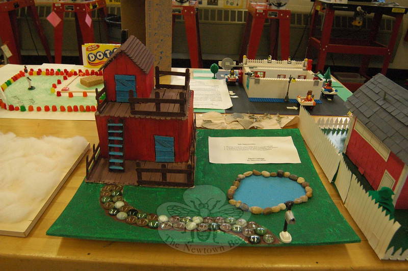 On Wednesday, April 2, different projects made by Newtown Middle School technology education students, like this architectural model created by Samantha Bicho, were on display for visiting parents and family members at NMS. (Hallabeck photo)