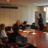 Dawn La Valle, seated center, and Mary Engels, standing, consultants from the Connecticut State Library, conduct a fifth and final focus group, Monday, April 7. Information gathered at the focus groups will be used by the new director search committee to develop questions for candidates and better understand the community's needs and desires in a new library director.  (Crevier photo)