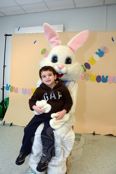 The Easter Bunny made an appearance on the morning of Saturday, March 29, in Sandy Hook Center. The bunny was the guest of honor in the church hall at Newtown United Methodist Church. The annual Bunny Breakfast there was sponsored by Wesley Learning Center, which is a preschool education program. The well-attended event drew many families to the festivities. Julian Bello, 4, the son of Sandy and John Bello of Newtown, socialized with the bunny.  (Gorosko photo)