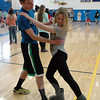 Newtown High School students David Csordas, left, and Brittany Watson tangoed together in the school's gymnasium on Thursday, April 10, during Argentina Day. (Hallabeck photo)