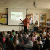 Author Sara Pennypacker, center, visited with Middle Gate Elementary School students on Monday, April 7. (Hallabeck photo)