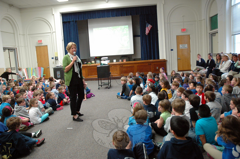 Author Sara Pennypacker spoke to Hawley Elementary School students on Tuesday, April 8. 	(Hallabeck photo)