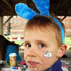 Colin Dirga had a bunny painted on his cheek during the Bunny Watch on Friday. (Hallabeck photo)