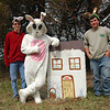 Zachary Weiland, left, and Ryan Fitzgerald, right, with the bunny who waited along the trail for this year's Bunny Watch. (Hallabeck photo)