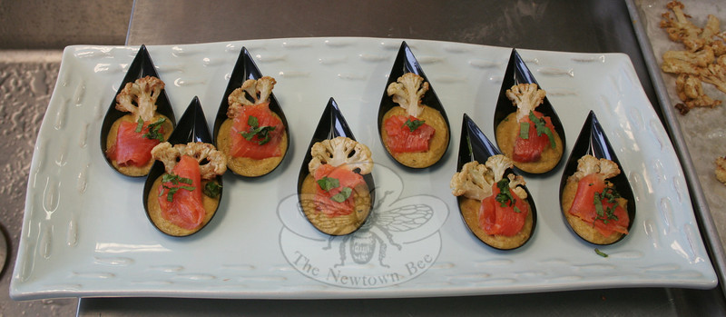 Ryan Rosenberger and Hayden Savoia created Orange, Coriander & Ginger Gravlax, featuring gravlax salmon accompanied by a deep fried slice of cauliflower and cauliflower-curry puree. (Hicks photo)