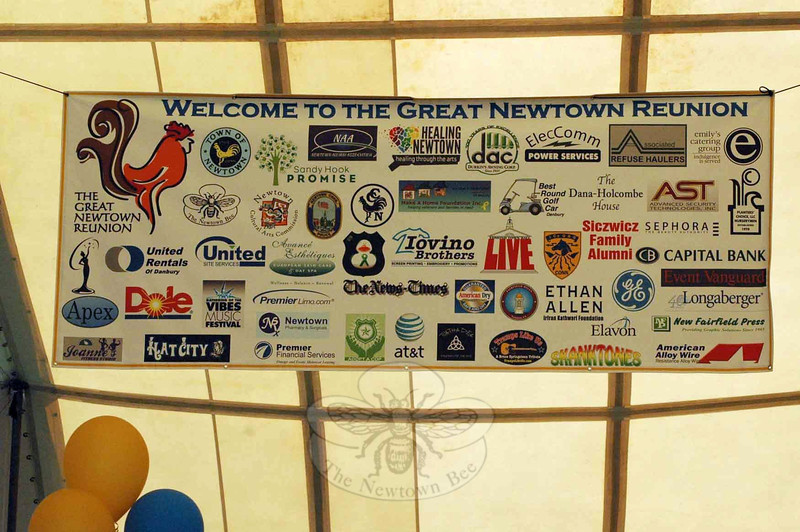 Many area firms participated in the Great Newtown Reunion as sponsors as shown on a banner displayed in the main tent at the event. (Gorosko photo)