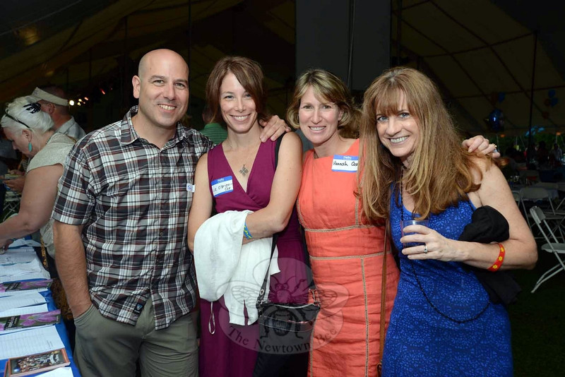 From left are Newtown High School graduate Toby Cox with Liz O'Brien Cox, Hannah Cox, and Suzy DeYoung at The Great Newtown Reunion event held on Saturday, July 27. (Bobowick photo)
