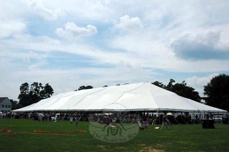 A massive tent provided shelter from the sun during the 12-hour Great Newtown Reunion at Fairfield Hills on July 27. (Gorosko photo)