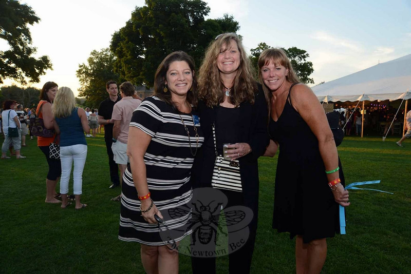 Town Clerk Debbie Aurelia, left, with her sister Wendy Aurelia, right, and friend Buffy Beaudoin-Schwartz at The Great Newtown Reunion event held on Saturday, July 27. (Bobowick photo)
