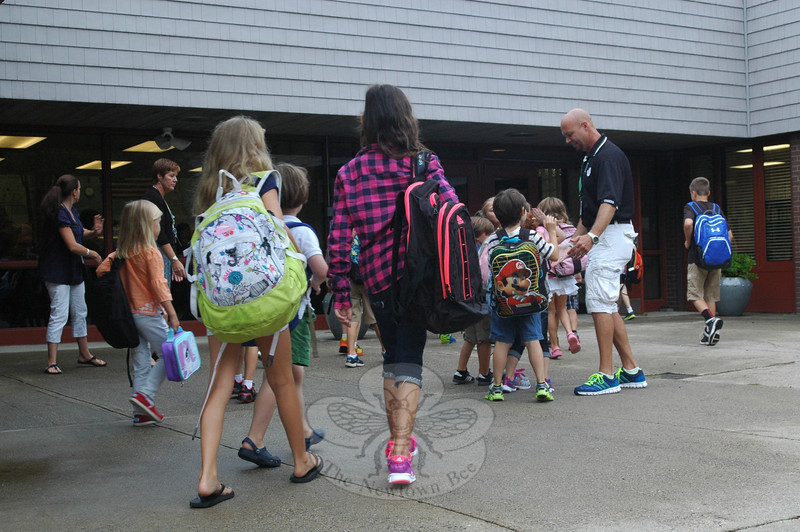 Head O' Meadow students were welcomed by faculty and staff members for the first day of school on Tuesday.  (Hallabeck photo)