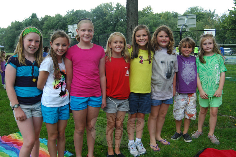A group of friends posed for a photo during the family picnic held at Dickinson Park on Monday, August 26, as a gathering for Reed Intermediate School incoming fifth graders, family members, and friends.  (Hallabeck photo)
