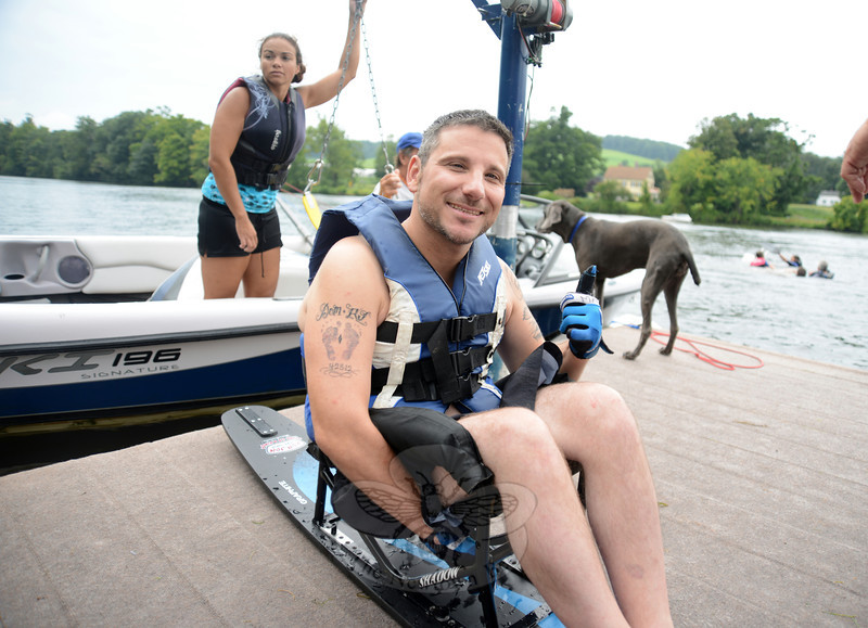 Matthew Castelluccio prepares for his turn on the lake in a sit ski.  (Bobowick photo)