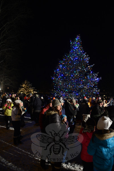Cold, but merry, residents crowd the snow-covered lawn near Hawley Pond where the Ram Pasture trees are now lit, as of 7:15 Wednesday, December 11. (Bobowick photo)