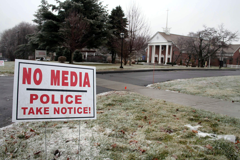 Most faith communities in Newtown are offering services this weekend to mark the first anniversary of 12/14. Many will also have support services available. Some of the town's houses of worship have posted signs on their grounds to make it clear a media presence is not welcome. (Hicks photo)