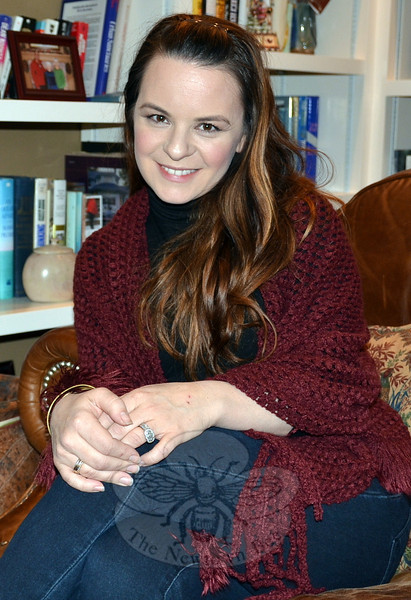 Actress, singer, author and Newtown native Jenna von Oy relaxes at The Dana-Holcombe House during a pre-Christmas visit with family and friends. (Voket photo)