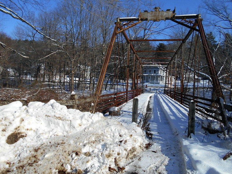 Those with a taste for the outdoors can step across the Pootatuck River at an old bridge meant years ago for foot traffic between Glen Road and Dayton Street. The bridge is just a few steps away from the entrance to Rocky Glen State Park. The location is one of many that offers the opportunity to walk through a scenic part of Newtown's history. (Bobowick photo)