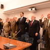 Newly elected council members and reelected incumbents alike were sworn in on December 1 during a brief, but heavily attended ceremony at the Newtown Municipal Center. Among members raising their right hands are, from left, Neil Chaudhary, Anthony Filiato, Dan Honan, Ryan Knapp, George Ferguson, and Robert Merola. (Bobowick photo)