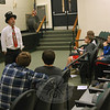 Magician Ken Sprano spoke to Newtown Middle School eighth grade students during the school's Career Day. (Hallabeck photo)