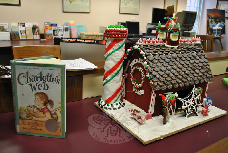 A detailed gingerbread rendition of the Zuckerman Farm barnyard, featuring characters Fern, Wilbur the pig, Charlotte the spider, and Templeton the rat from Charlotte's Web placed first in the adult/family division of the Gingerbread House Contest. (Crevier photo)