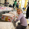 Nichole Tabor, a kindergarten student, works Friday, February 7, to help decorate boxes headed overseas for the Valentines For Troops effort. (Bobowick photo)