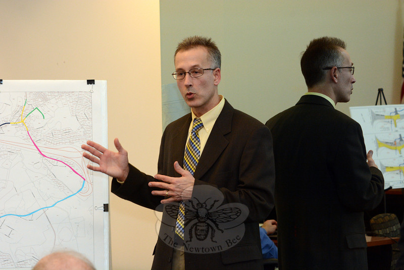 Engineer Louis Bacho, the state Department of Transportation's project manger for a bridge replacement and road widening project on Sugar Street, makes a point at a February 11 informational session on the planned construction project. (Gorosko photo)