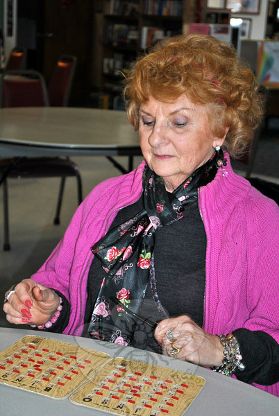 Senior Center member Dottie Dellapiano concentrates on her Bingo card, Tuesday, February 11, during the Valentine's Day Bingo Party held at the Riverside Road Senior Center. (Crevier photo)