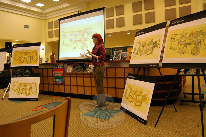 Julia McFadden of Svigals + Partners explained aspects of one of three schemes unveiled for Sandy Hook School during a joint meeting of the Public Building and Site Commission and the Board of Education Tuesday, February 11. (Hallabeck photo)