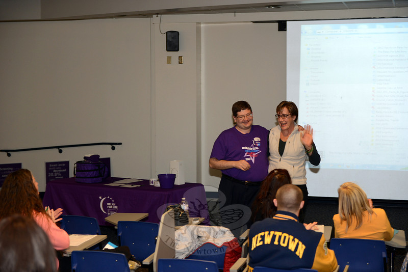 During the kick-off event for this year's Relay for Life, also the tenth anniversary for Newtown, event Chair Christopher Farrington stands with 2014 Honorary Chair Mary Ann Jacob. Both are cancer survivors. (Bobowick photo)