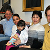 Visiting at The Newtown Bee on February 17 are from left, Newtown Rotarian Pat Caruso, Melanie Lopez of Belize City, Belize, 3-year-old Genesis Fuentes of Belize, and Monica and Mike Toll of Newtown. Genesis received lifesaving heart surgery through the Rotary Club Gift of Life program, and was sponsored by the Newtown chapter. She and her cousin Melanie were guests of the Tolls before and after the surgery.	(Crevier photo)