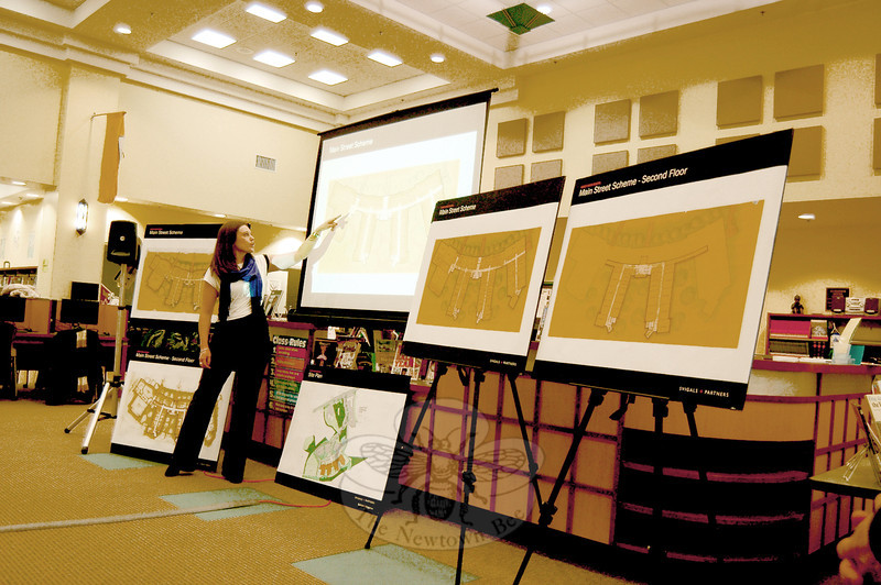 Alana Konefal with Svigals + Partners pointed to an updated Main Street scheme for the new Sandy Hook Elementary School during a joint meeting of the Board of Education and the Public Building and Site Commission on Wednesday, February 19. (Hallabeck photo)