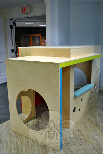 A new playhouse in the Children's Department of the C.H. Booth Library waits for toddlers and preschoolers to spark it with imagination, beginning March 8, when the library reopens to the public. (Crevier photo)