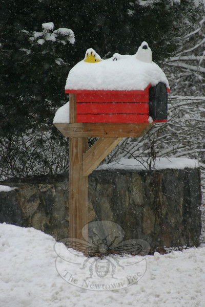 Woodstock and Snoopy are usually seen on top of this mailbox in Sandy Hook. Following snow on Monday, only the top of the carved characters were still poking out. (Hicks photo)