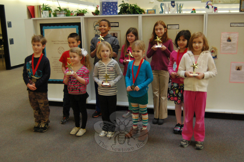 "Head O' Meadow Elementary School students who participated in this year's PTA-sponsored Reflections Program were recognized on Friday, January 24. This year's Reflections Program, an art competition, asked entrants to interpret the theme ""Believe, Dream, Inspire"" in one of six categories: literature, visual art, video production, photography, dance choreography, and musical composition. Students who participated in this year's Reflections Program at Head O' Meadow were, not shown in order, Johnny Barzetti, Lilly Plummer, Isabella Pessoa, Sophia Gordon, Thai Sapenter, Addy Plummer, Sarah Gordon, Kristin Lageman, Marc Maurath, and Kiersten Daigle. The winning students advancing to the state level of the Reflections Program are Sophia and Thai for photography, Addy and Sarah for visual arts, Kristin and Marc for literature, and Kierstan for dance. (Hallabeck photo)"