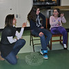 "Theresa Talluto, left, makes suggestions as Caitlyn Child and Sarah Flynn work through a ""Park Bench"" exercise at a recent Theatre On Your Feet class. (Crevier photo)"