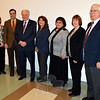 A number of business and community leaders gathered at the Newtown Municipal Center January 7 to announce that in 2014, the town's Economic Development Commission will partner with SCORE, The Newtown Chamber of Commerce, and the C.H. Booth Library hosting about a half-dozen small business seminars for Newtown businesses. The series will be sponsored by Newtown Savings Bank. Among those attending the announcement were, from left, Director of Economic and Community Development Elizabeth Stocker, Chamber President Tim Haas, Brian Amey of Newtown Savings Bank, Economic Development Assistant Betsy Paynter, Tricia Farin of Jantris Marketing, EDC Chair Jean Leonard, and local SCORE representative Wes Thompson. (Voket photo)