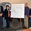 Joseph Draper, second from right, is joined by town officials at Newtown Municipal Center January 8 after announcing he will be guaranteeing a donation of at least $200,000, which will be matched with a memorial fund to complete a section of sidewalk between upper Church Hill Road and Main Street. Joining Mr Draper, from left, are Health District Director Donna Culbert, Land Use Director George Benson, Jean St Jean, zoning coordinator and borough liaison official, Borough Burgess Jay Maher, and First Selectman Pat Llodra.  (Voket phtoo)