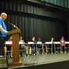 Newtown Middle School Principal Thomas Einhorn, left, acted as moderator for his school's final round of the National Geographic Geography Bee, held on Thursday, January 9. (Hallabeck photo)