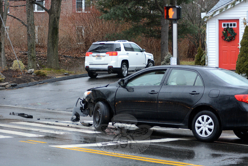 The Toyota, foreground, and a GMC, background, were involved in a sideswipe accident about 8: 11 am on January 14 on westbound Church Hill Road at its intersection with Queen Street, police said. There were no injuries. Police said the collision occurred between a 2010 Toyota Corolla sedan driven by Cody Wright, 24, of 2 Walnut Tree Hill Road, and a 2013 GMC Terrain SUV driven by Jodi Jones, 45, of 12 Timber Mill Road. Police said they charged Wright with failure to drive in the proper lane and with driving under suspension. (Gorosko photo)