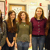 Newtown High School students, from left, Katherine Jennings, Isabella Saraceni, Hannah Godbout, Abigail Kohler, and Rebecca Ainley have artwork featured in a show at the Hartford Art School for the 2014 Connecticut Regional Scholastic Art Awards. The show is on view through January 29. (Hallabeck photo)
