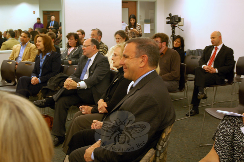 Dr Joseph Erardi, Jr, front center, sat during the Board of Education's special meeting on Friday, January 17, when he was unanimously chosen as the school district's new superintendent. (Hallabeck photo)