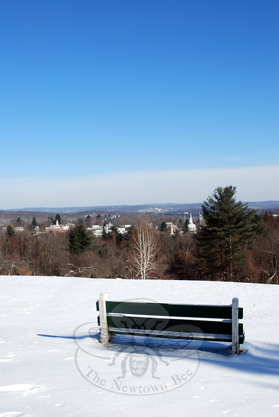 "Sitting on the bench and walking down the path near it on the Nettleton Preserve on Castle Hill Drive are two things resident Paul S. Lux puts on his (Unofficial) Newtown ""Must Do"" List. (Spanedda photo)"