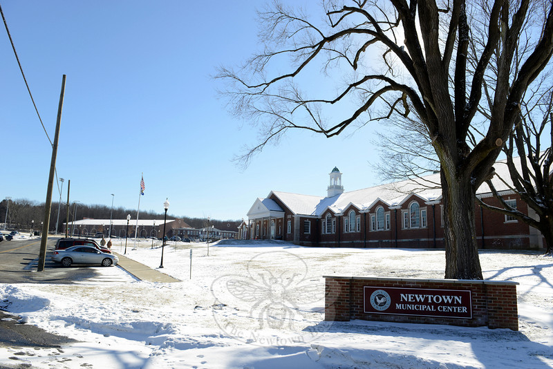 Successful parts of the Fairfield Hills campus reuse include a renovated former state building that now houses town offices in the Newtown Municipal Center. In the background on the left is NYA Sports & Fitness Center, a new structure built less than five years ago. Originally known as Newtown Youth Academy, the sports and fitness facility brings a lot of traffic through Fairfield Hills. (Bobowick photo)