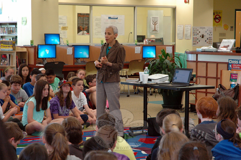 Gail Carson Levine before with Reed Intermediate School students on Friday, June 6.