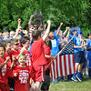 Classes from Head O' Meadow School show their enthusiasm at the start of Spirit Day, Friday, June 6. (Crevier photo)