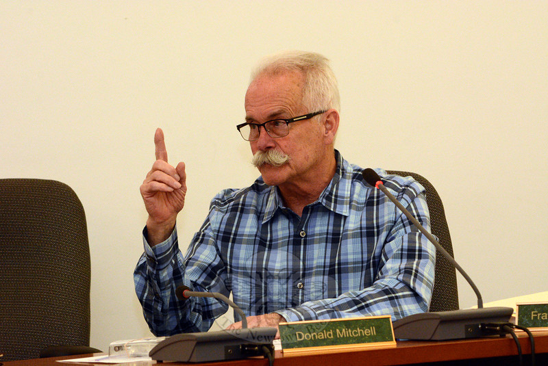 Planning and Zoning Commission (P&Z) member Donald Mitchell makes a point at a June 5 P&Z session at which the land use agency took up the topics of moratoriums and the regulation of medical marijuana, in terms of production facilities and dispensaries. (Gorosko photo)